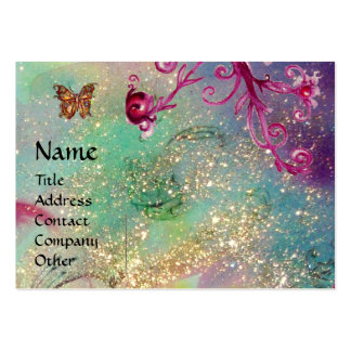BUTTERFLY IN SPARKLES TEAL PINK SWIRLS MONOGRAM BUSINESS CARDS