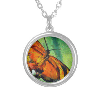 Butterfly in the garden silver plated necklace