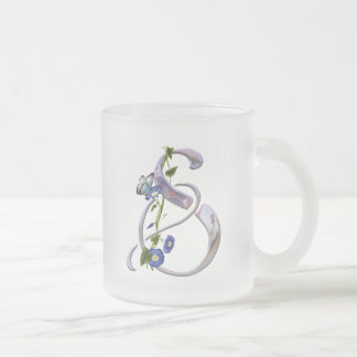 Butterfly Initial S Frosted Glass Coffee Mug