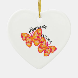 Butterfly Kisses Ceramic Heart Ornament