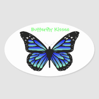 Butterfly Kisses Oval Sticker
