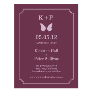 Butterfly Kisses Save The Date Postcards - Plum