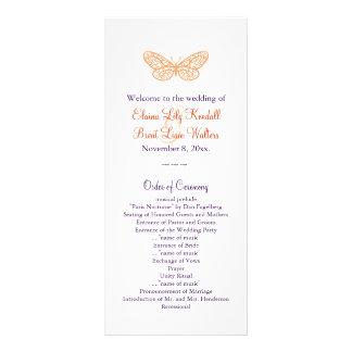 Butterfly Kisses Wedding Program (orange & purple)