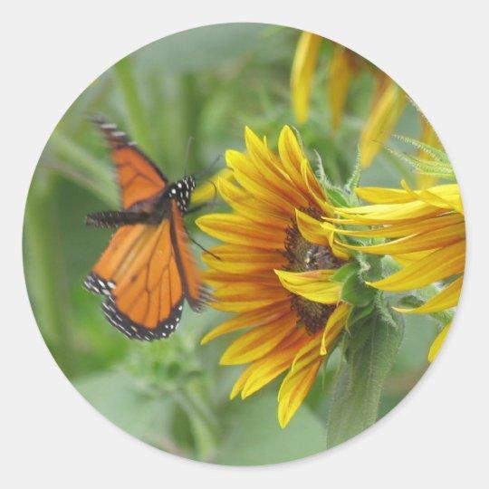 Butterfly Landing Classic Round Sticker