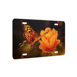 Butterfly Landing on Flower License Plate