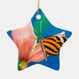 Butterfly Landing on Purple Flower Ceramic Ornament
