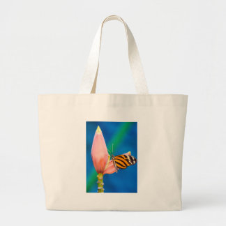 Butterfly Landing on Purple Flower Large Tote Bag