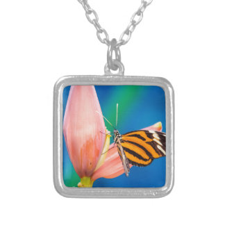 Butterfly Landing on Purple Flower Silver Plated Necklace