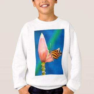 Butterfly Landing on Purple Flower Sweatshirt