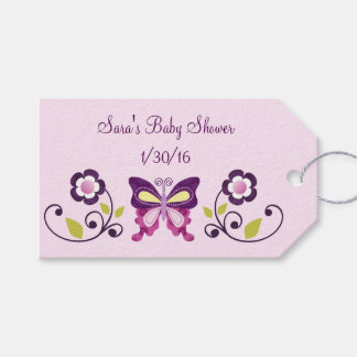 Butterfly Lane & Flowers Baby Shower Favor Tags