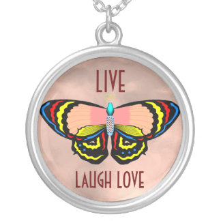BUTTERFLY - LIVE LAUGH LOVE SILVER PLATED NECKLACE