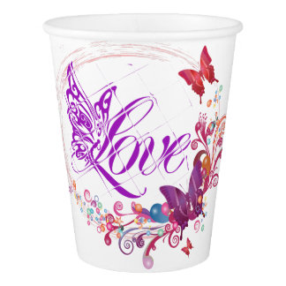Butterfly love paper cup