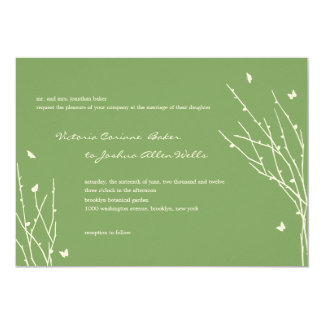 Butterfly Love Wedding Invitations (Green) Personalized Invitation