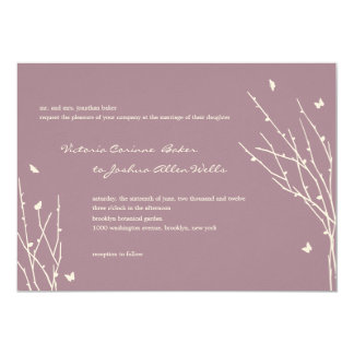 Butterfly Love Wedding Invitations (Purple) Custom Announcements