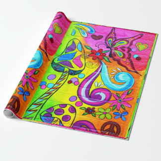 butterfly magic mushroom wrapping paper