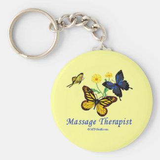 Butterfly Massage Therapist Basic Round Button Keychain