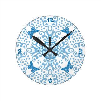 Butterfly Medallion Blue 'n White Round Clock