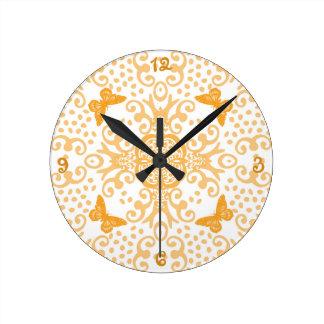 Butterfly Medallion Orange 'n White Round Clock