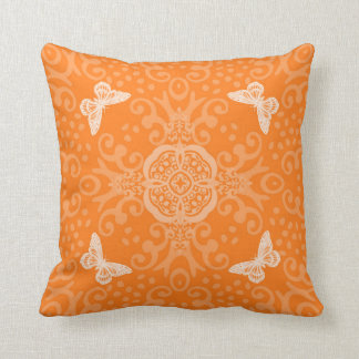 Butterfly Medallion Vintage Look Orange Throw Pillow