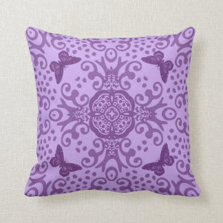 Butterfly Medallion Vintage Look Purple Throw Pillow
