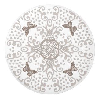 Butterfly Medallion Vintage Look Silver n White Ceramic Knob