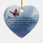 Butterfly  Memorial Poem Ceramic Heart Ornament