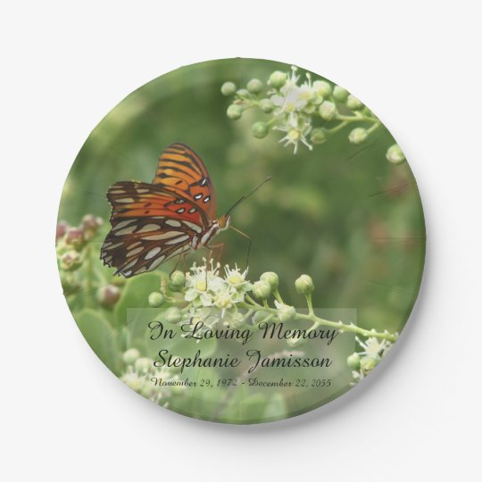 Butterfly, Memorial Service Paper Plates 7 Inch Paper Plate