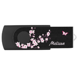 Butterfly Monogram Cherry Blossoms USB Flash Drive