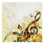 Butterfly Music Notes Poster