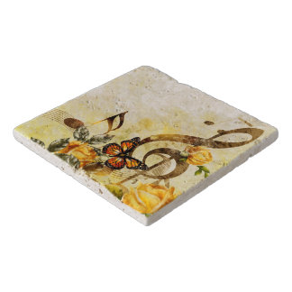 Butterfly Music Notes Stone Trivets