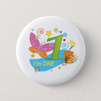 Butterfly: My first birthday 2 Inch Round Button
