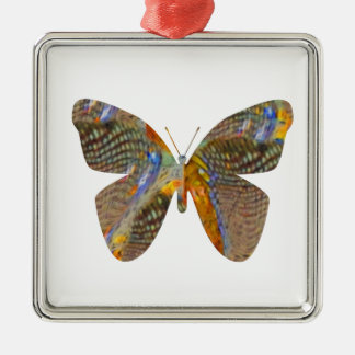 Butterfly My Way Silver-Colored Square Ornament