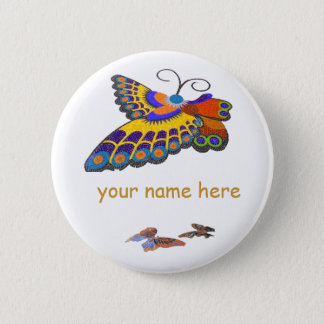 Butterfly name badge 2 inch round button