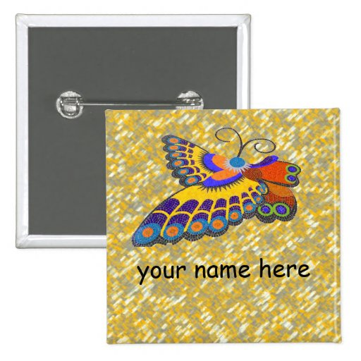 Butterfly name badge buttons