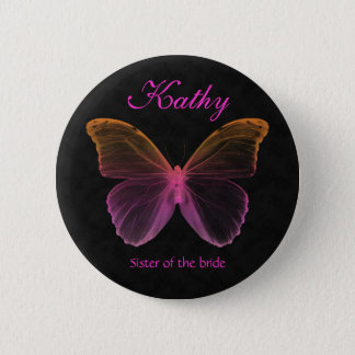 Butterfly Name Tag Button Brooch pink orange black