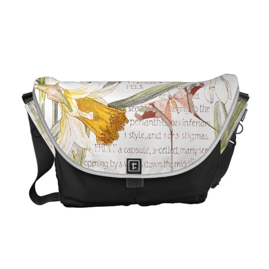 Butterfly Narcissus Amarylis Flowers Messenger Bag