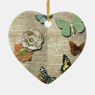 Butterfly Newspaper Floral Print Ceramic Heart Ornament