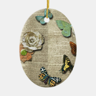 Butterfly Newspaper Floral Print Ceramic Oval Ornament