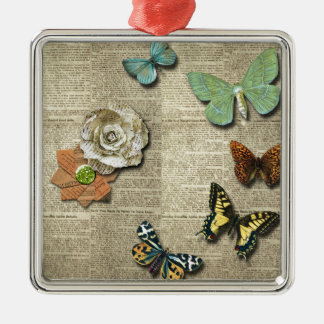 Butterfly Newspaper Floral Print Silver-Colored Square Ornament