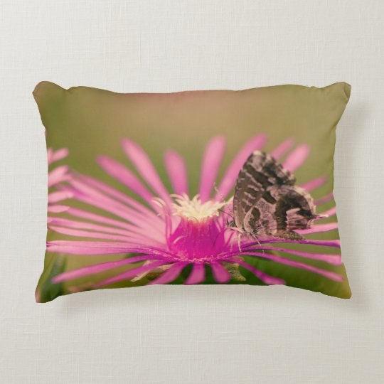 Butterfly on a purple wild flower accent pillow