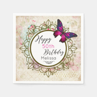 Butterfly on a Shabby Vintage Collage Birthday Disposable Napkins