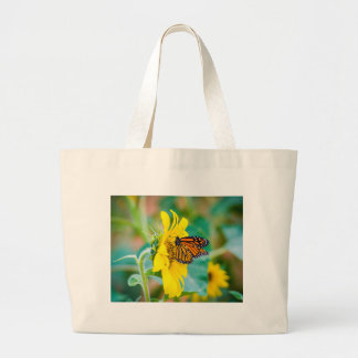Butterfly on a Sunflower Large Tote Bag