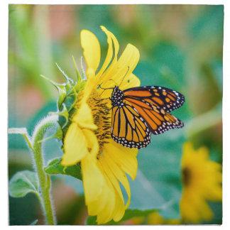 Butterfly on a Sunflower Napkin
