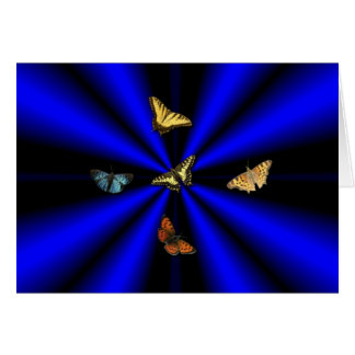 Butterfly on black and blue rainbow greeting card