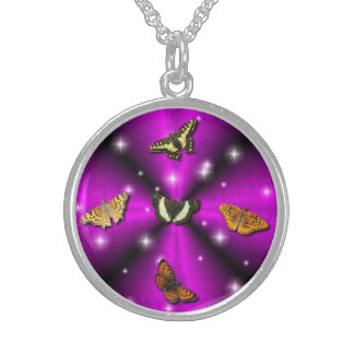 Butterfly on black pink Rainbow & star Round Pendant Necklace