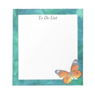 Butterfly on Blue/Green Watercolor Notepad
