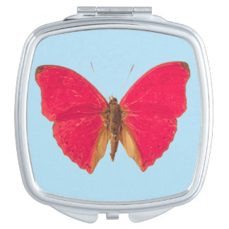 Butterfly on Blue Pattern Compact Mirror