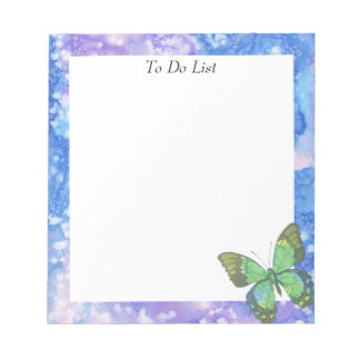 Butterfly on Blue/Violet Watercolor Notepad