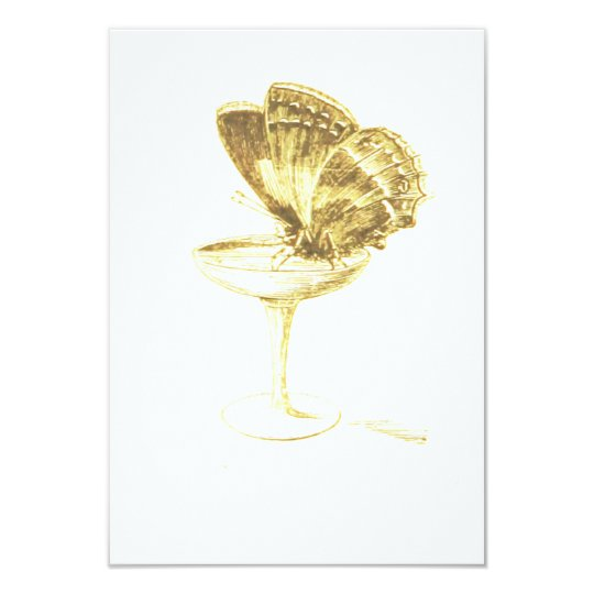 Butterfly on Champagne Glass Card