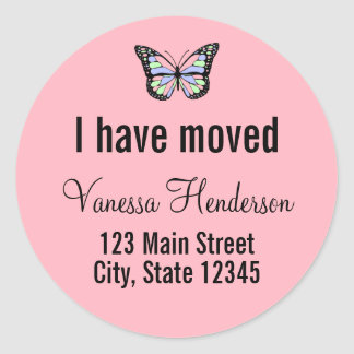 Butterfly on Custom Pink Moving Announcement Classic Round Sticker